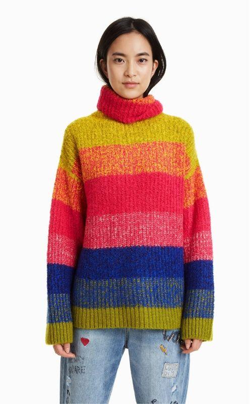 suéter de lana a rayas