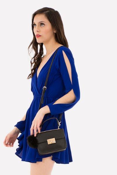 vestido azul rey corto