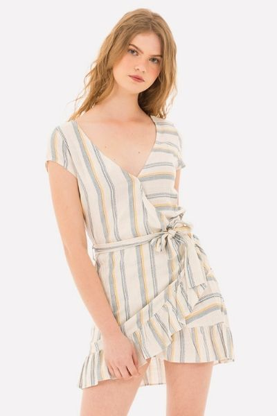 vestido beige de rayas