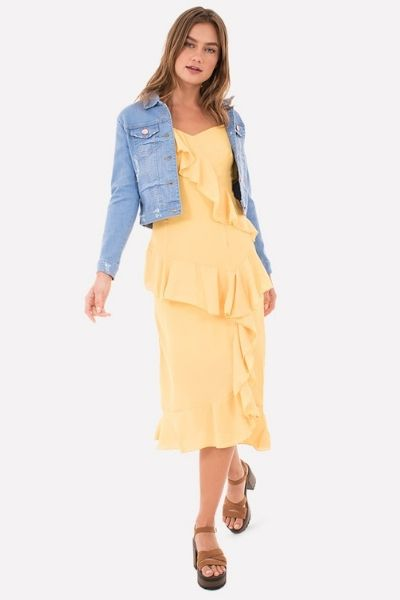 vestido con olanes amarillo shasa